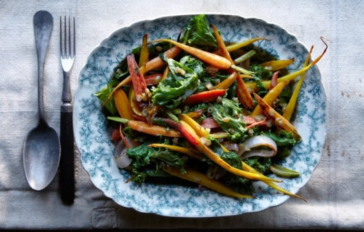 carrots-and-greens-with-dilly-bean-vinaigrette-700x446
